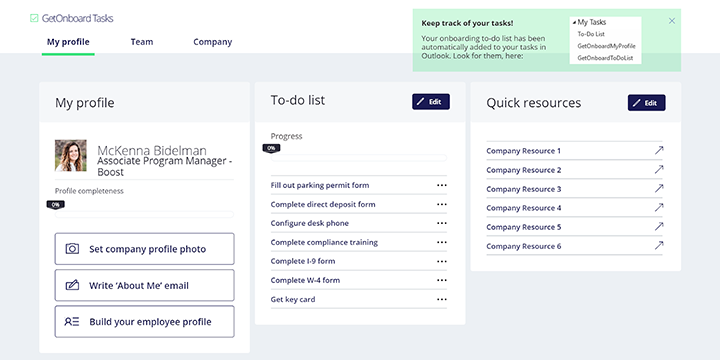 onboarding app template showing my profile, to-do list, and quick resources