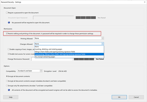 screen shot of the option to restrict editing and printing