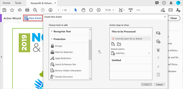 screen shot of the Create New Action dialog box
