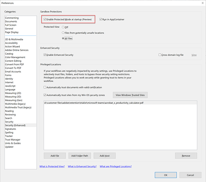 screen shot of the Acrobat option to enable protected mode at startup