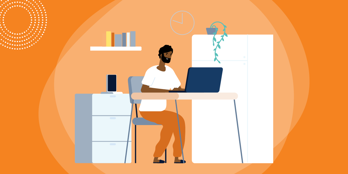 drawing of a man sitting at a table and using a computer