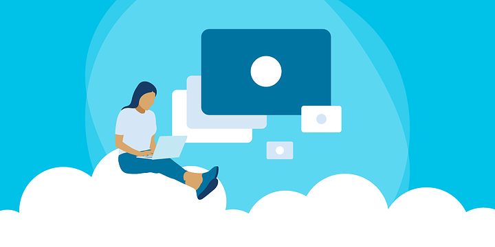 drawing of a woman sitting on a cloud and using a laptop