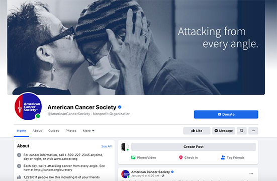 capture of the Home tab of the American Cancer Society's Facebook page showing a prominent Donate button above the tabs