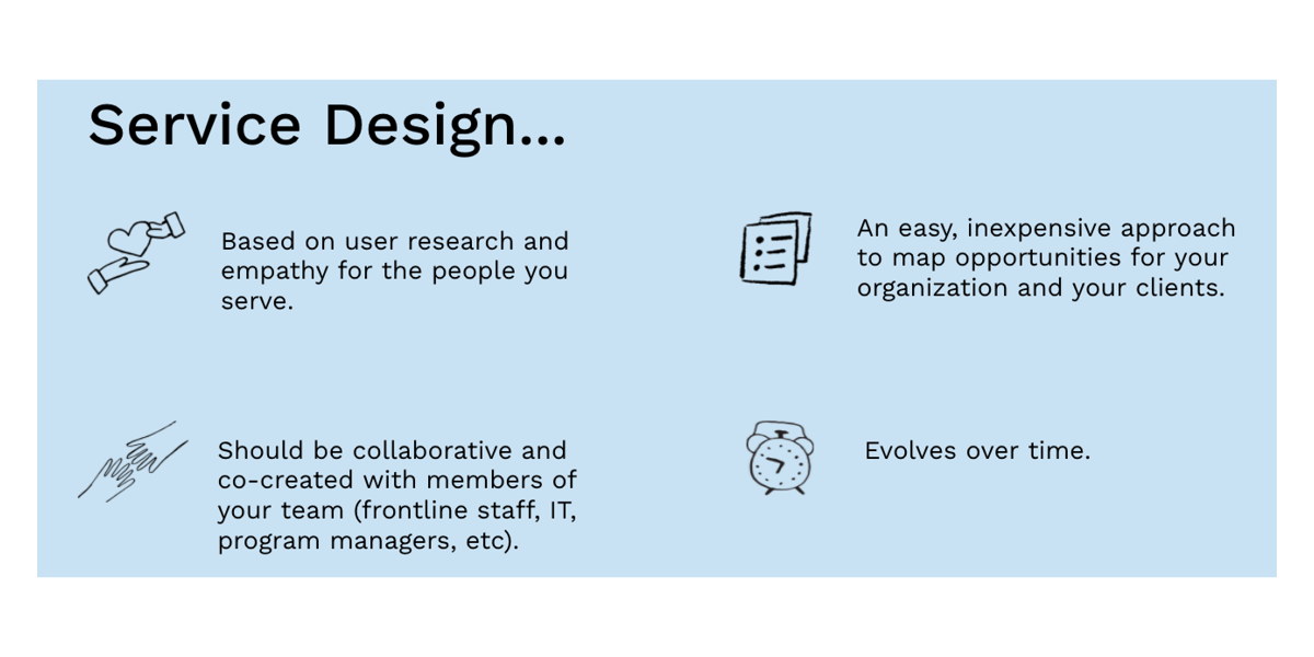 graphic with little sketches illustrating the characteristics of service design in the following list, all except the two main tools