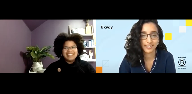 screen shot of the video conference with Vanessa Mason and Roshen Sethna