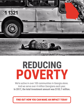 poster titled Reducing Poverty showing a person lying on the sidewalk and a bus in the street