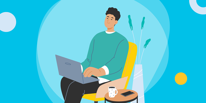 drawing of a man sitting in a chair using a laptop on his lap