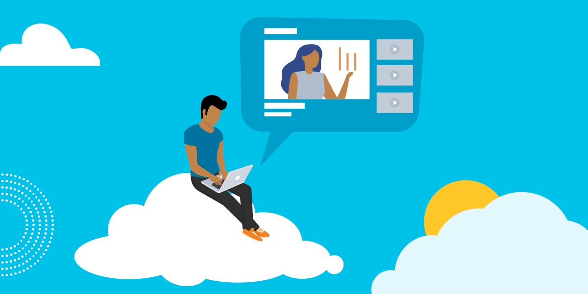drawing of a man sitting on a cloud looking at a computer screen showing a woman giving a presentation