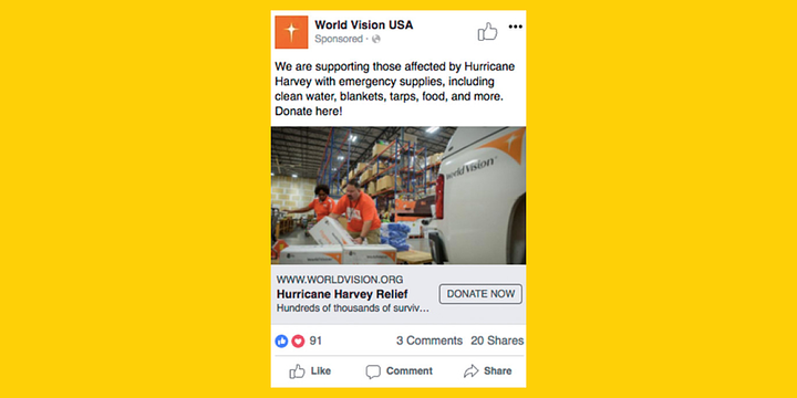 example of a Facebook ad with text, photo, and donate button