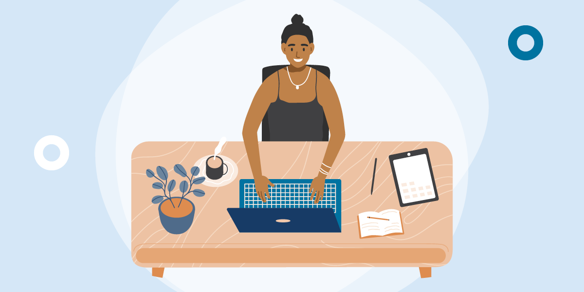 drawing of a woman using a laptop, viewed from a high angle