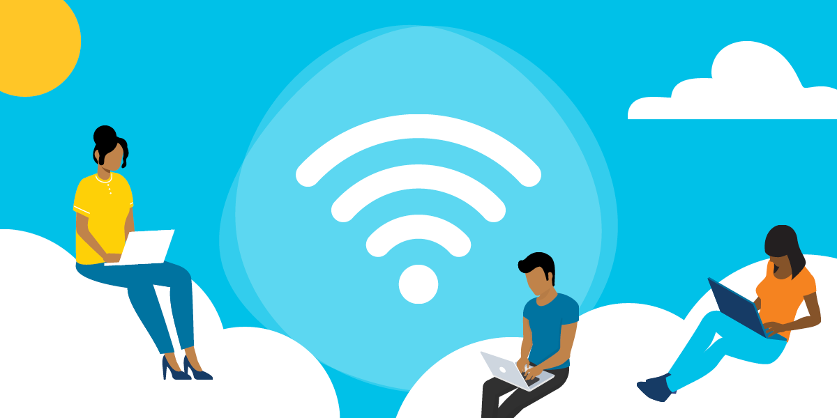 drawing of two women and a man sitting on clouds and using laptops, with the wireless access symbol in the background