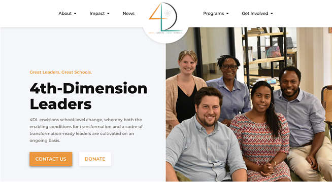 An After picture of 4DL's home page showing the donate button and a clearly stated mission
