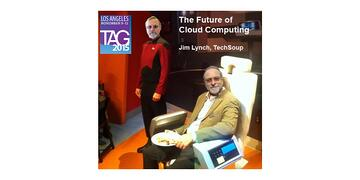 poster for a conference presentation with one Jim Lynch in a Star Trek uniform and another Jim Lynch in street clothes and sitting in a captain's chair