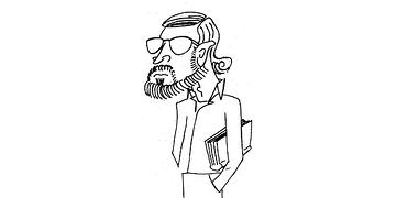 caricature of Jim Lynch, standing, carrying a book