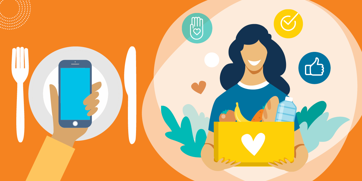 drawing of a woman with a box of food next to a hand holding a smartphone over a meal place setting