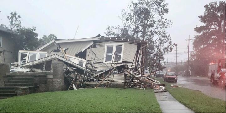 collapsed house in New Orleans following Hurricane Ida