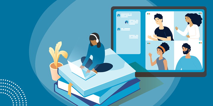 drawing of four people on a computer screen gesturing toward a woman sitting on a pile of books with a computer and headset