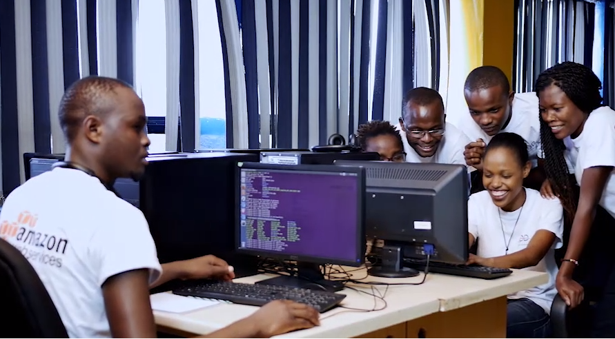 People in Kenya working in a computer lab