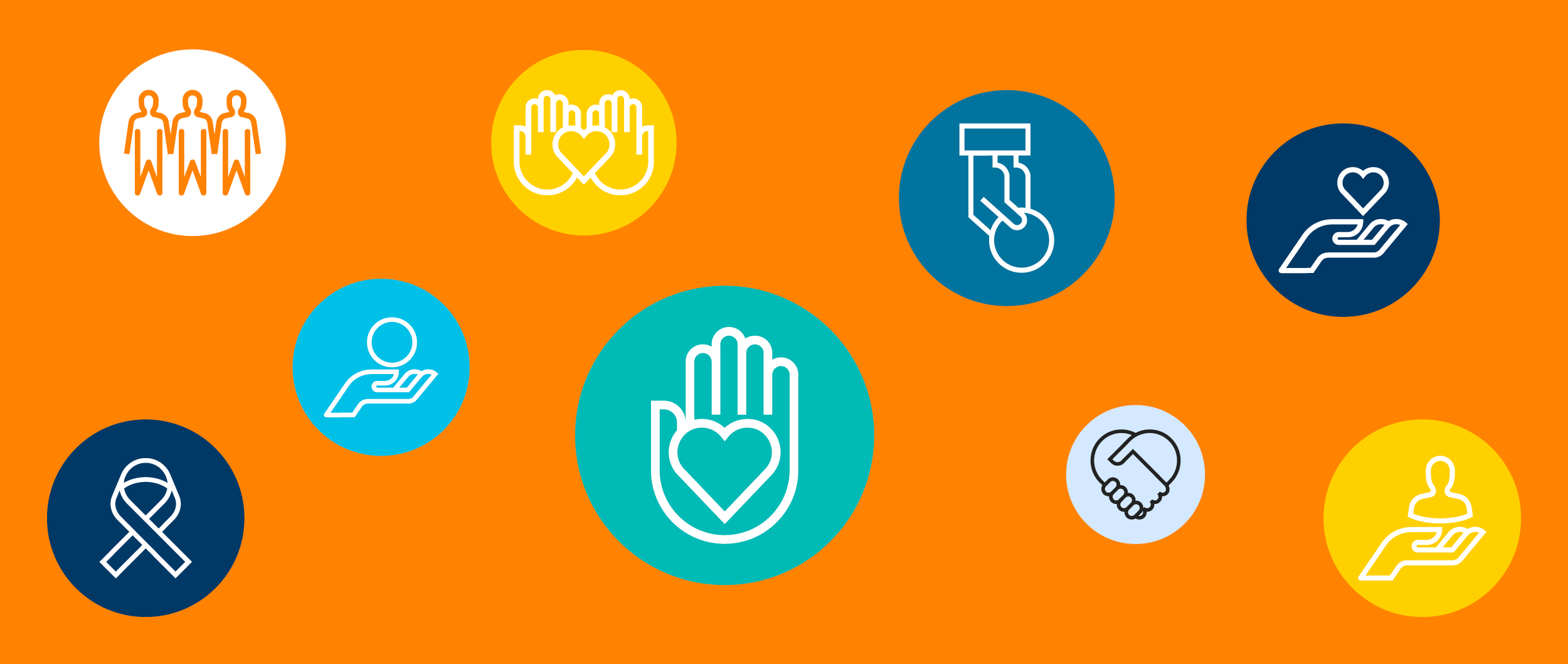 9 icons illustrating giving and community: a ribbon, a heart in someone's hand, three people standing together, a person's hand holding a coin
