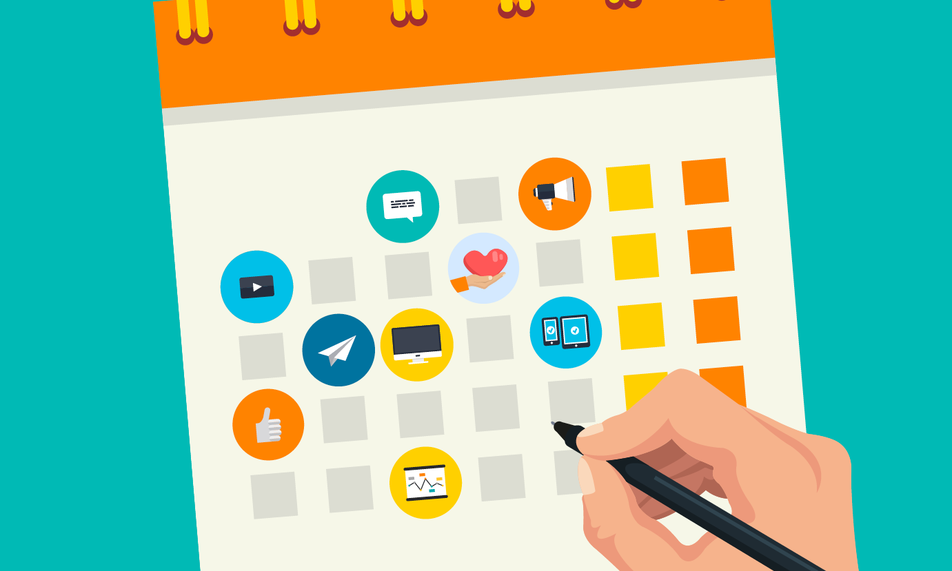 illustration of a calendar with 9 icons on some of the days