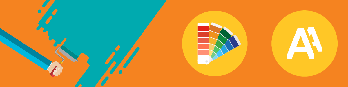 illustration of a person painting a wall next to a set of paint chips being used to devise a branding color scheme