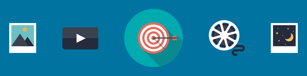 illustration of photos, a film reel, a play button for a video, and a target with an arrow in the center