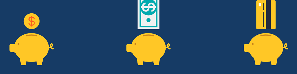illustration of three piggy banks with different forms on money going into them to represent nonprofit fundraising