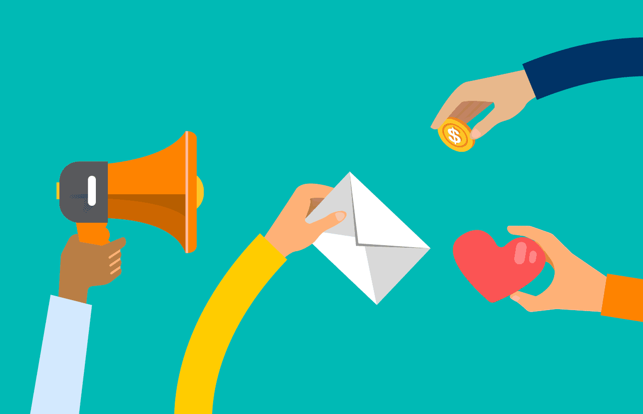 illustration of people holding a bullhorn, an envelope, a heart, and a coin
