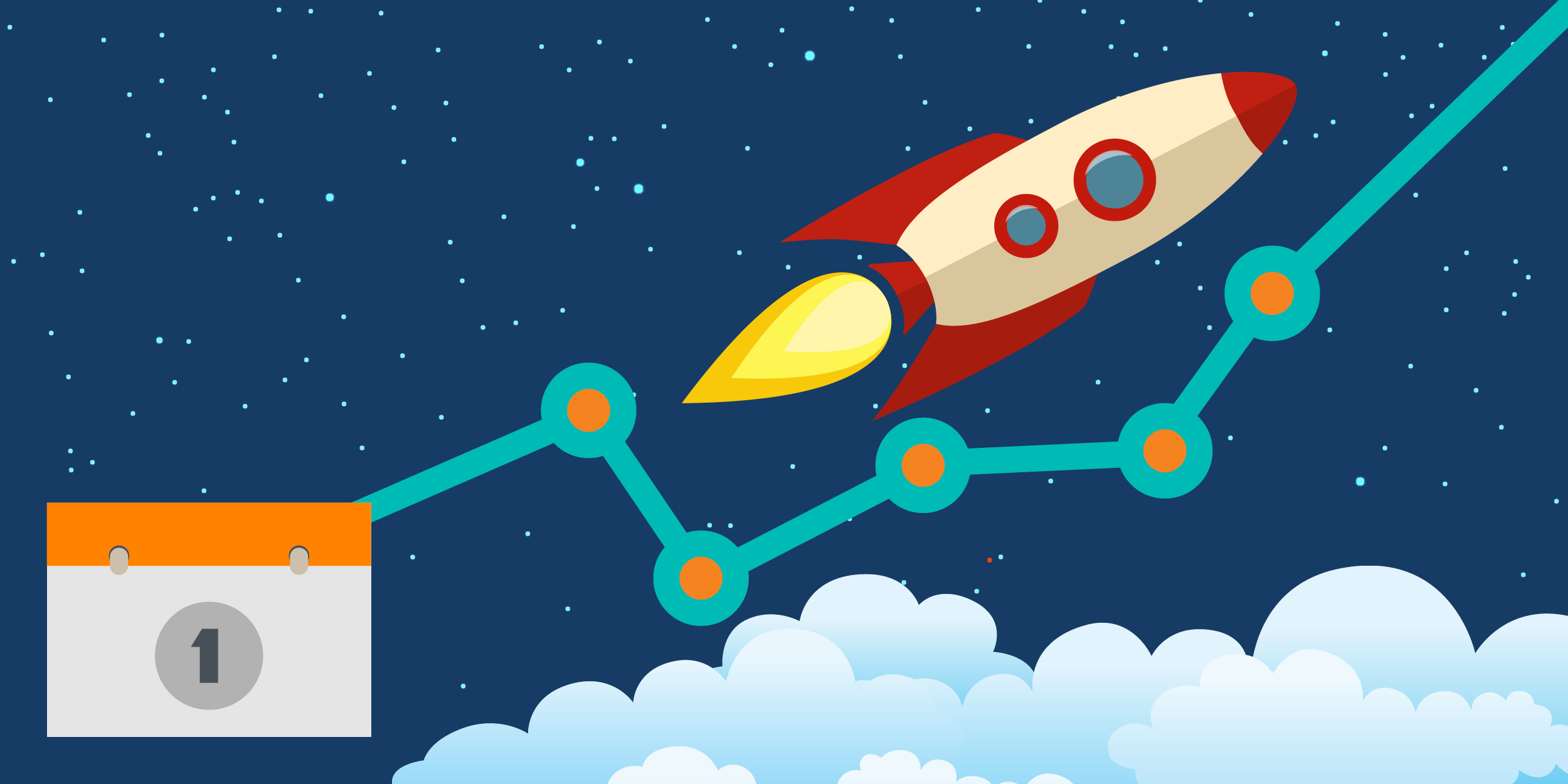 illustration of a rocket ship blasting off and a calendar with the number one on it