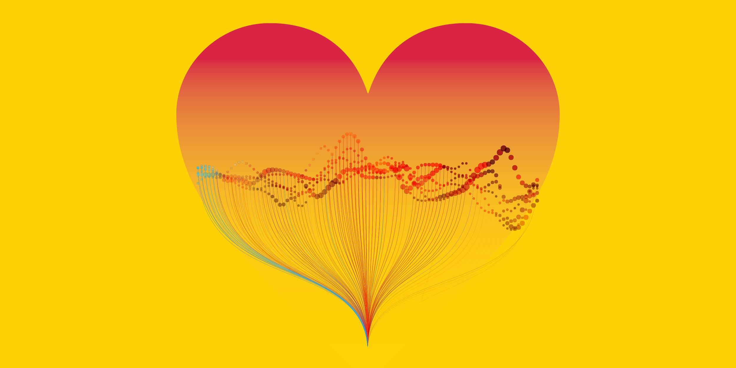 an illustration of a heart filled with many data points representing heart disease data stored in the Amazon Cloud on the American Heart Association Precision Medicine Platform