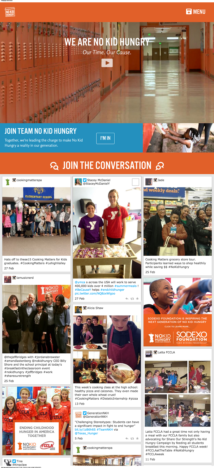 No Kid Hungry screenshot showing Stackla in action