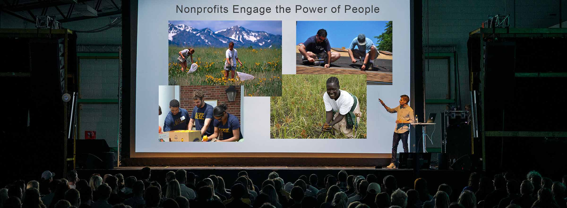 person giving a nonprofit powerpoint presentation