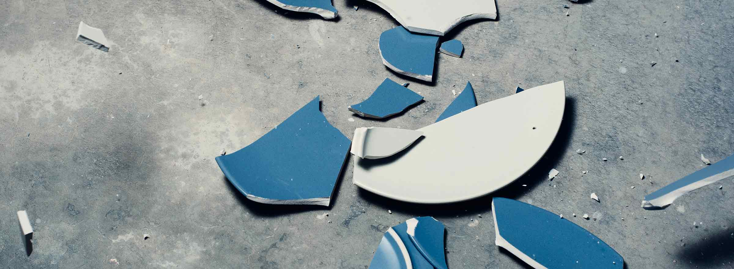 broken dishes on the floor, symbolizing how one nonprofit uses dell computers to fight domestic abuse