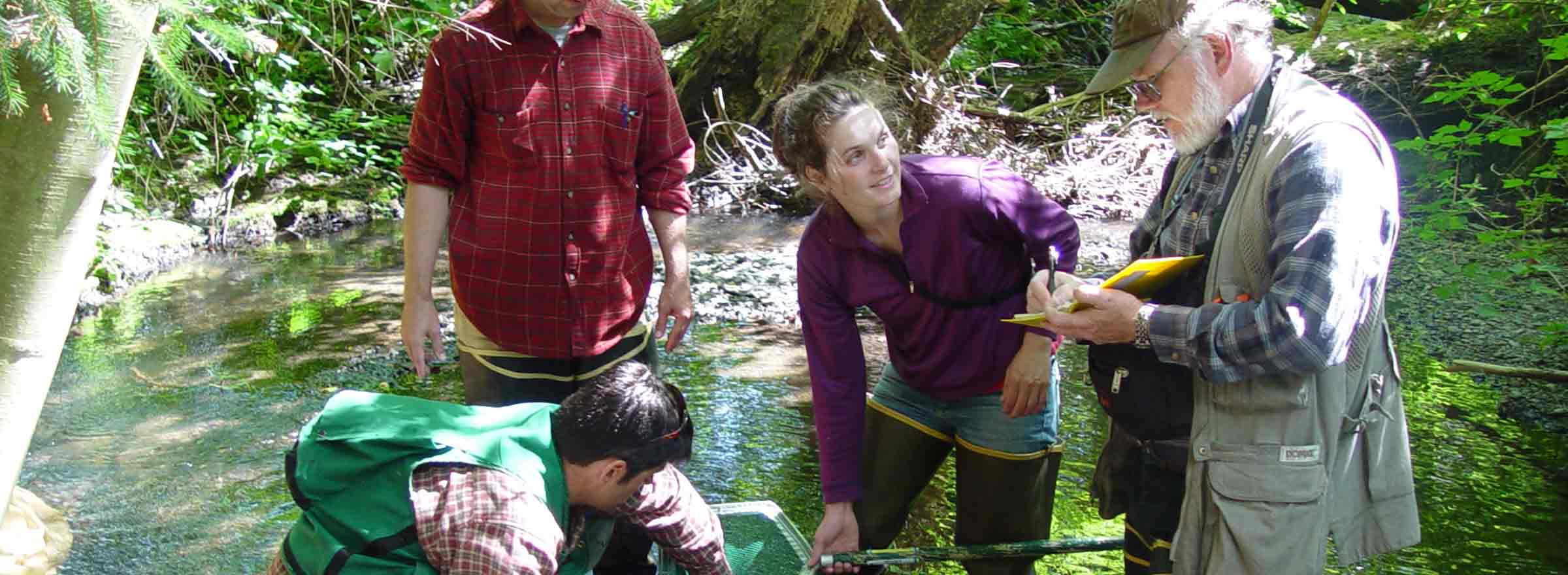four people in a stream doing field work for Washington Water Trust