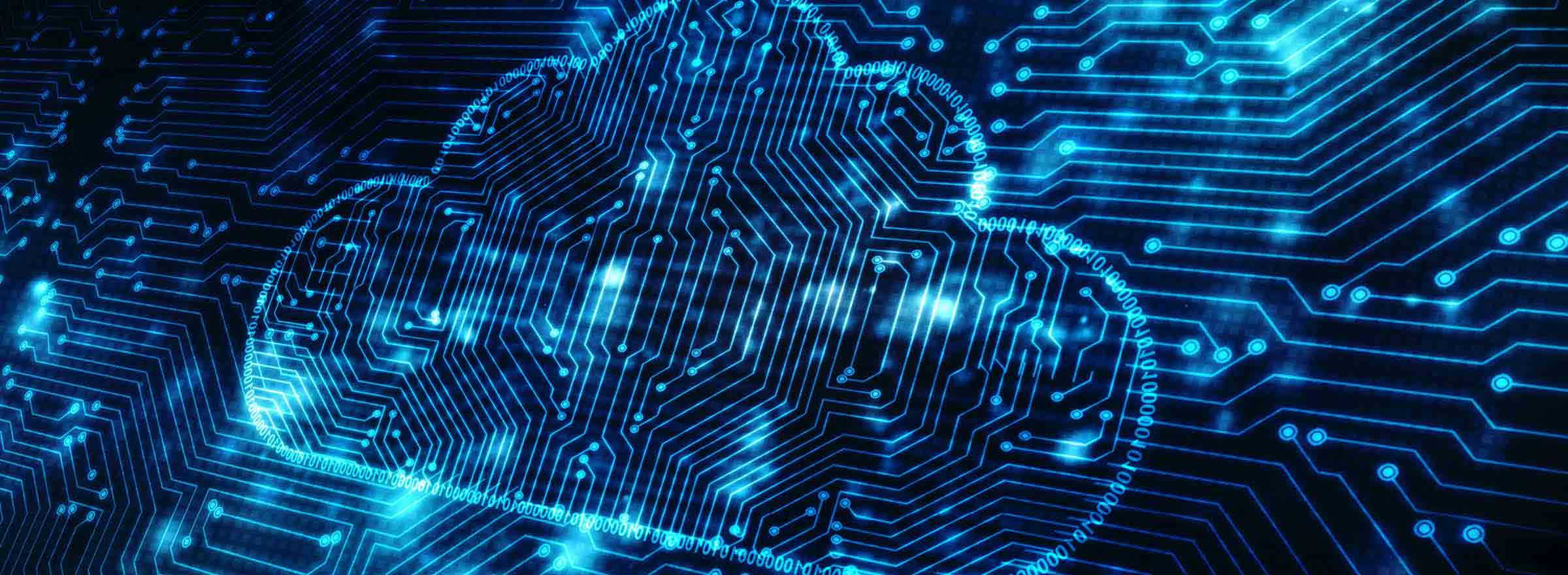 a circuit board with a cloud outlined on it, representing the benefits of cloud storage for nonprofits
