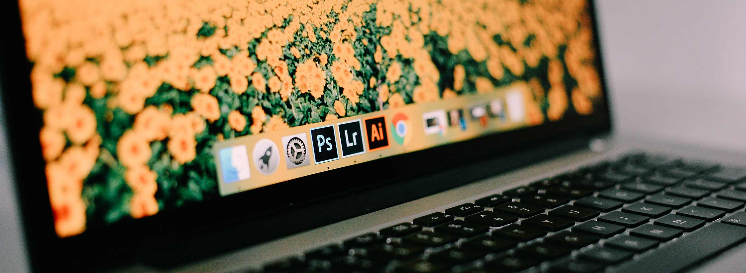 screenshot of a nonprofit staff member's laptop with adobe creative cloud apps on it, representing how to choose the right adobe app for a project