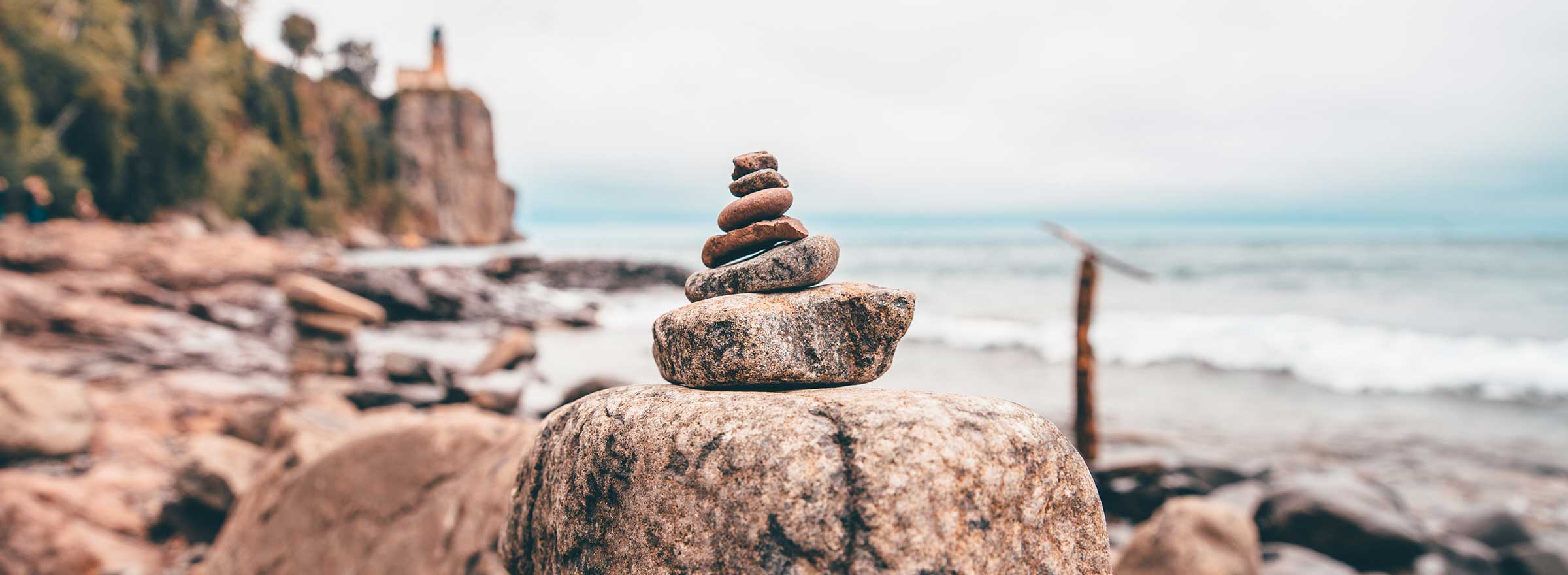 a cairn of piled rocks, symbolizing the way toward nonprofit stability and sustainability