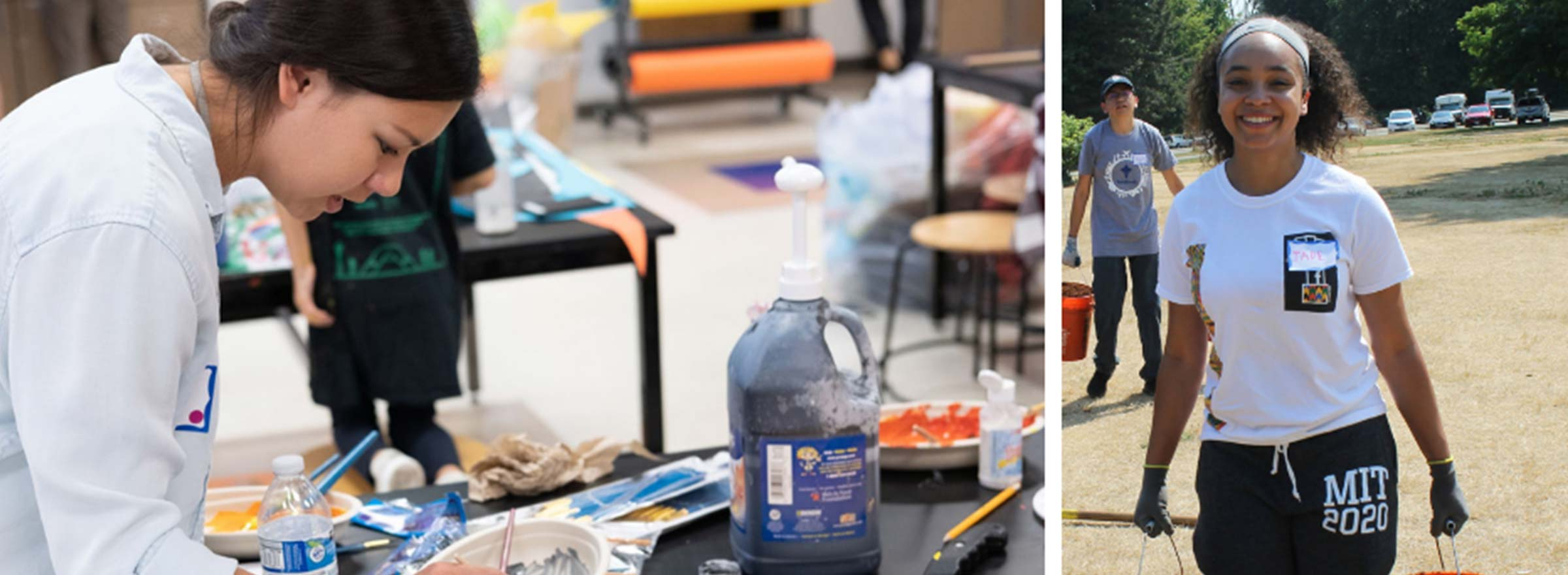 left image: young woman engaging in a craft; right image: young woman carrying two buckets