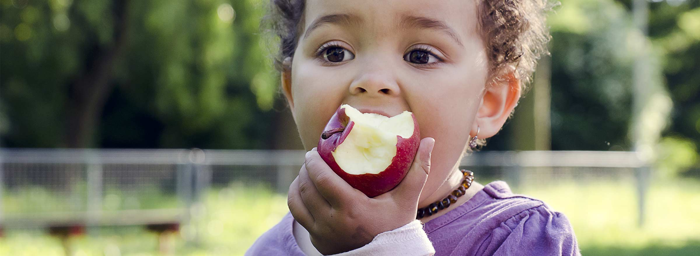 small child eating an apple