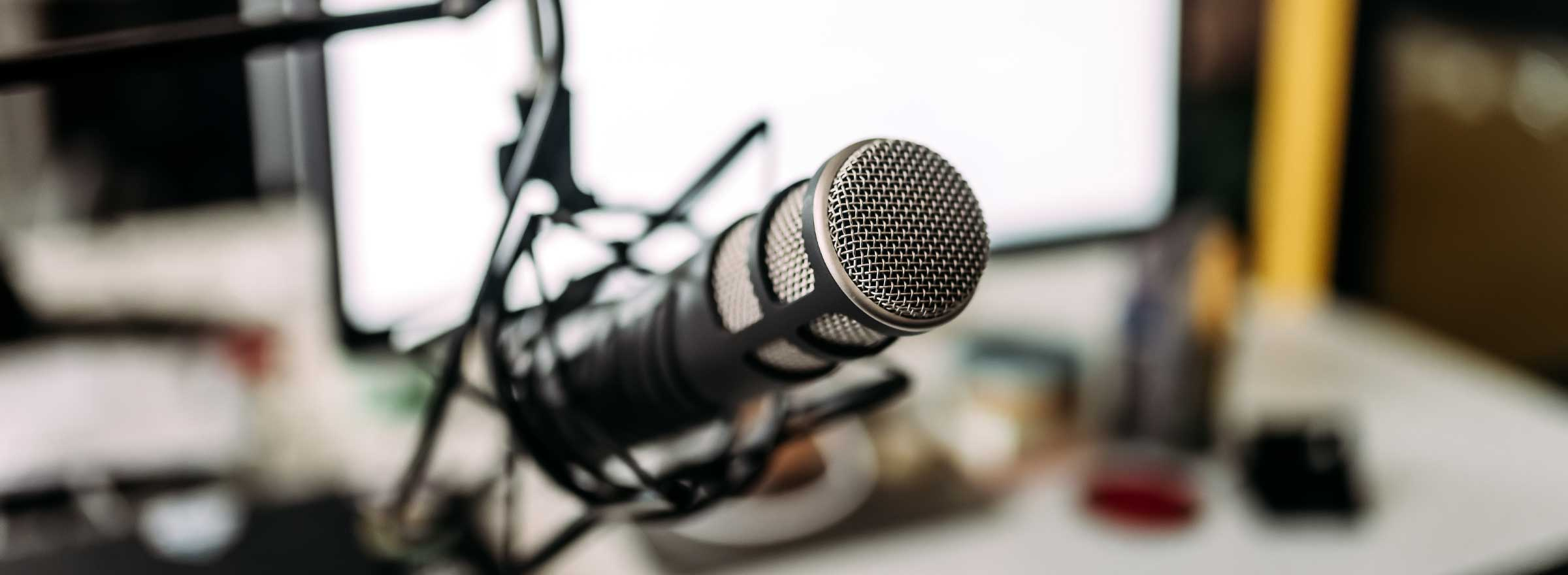 microphone in front of a blurred background