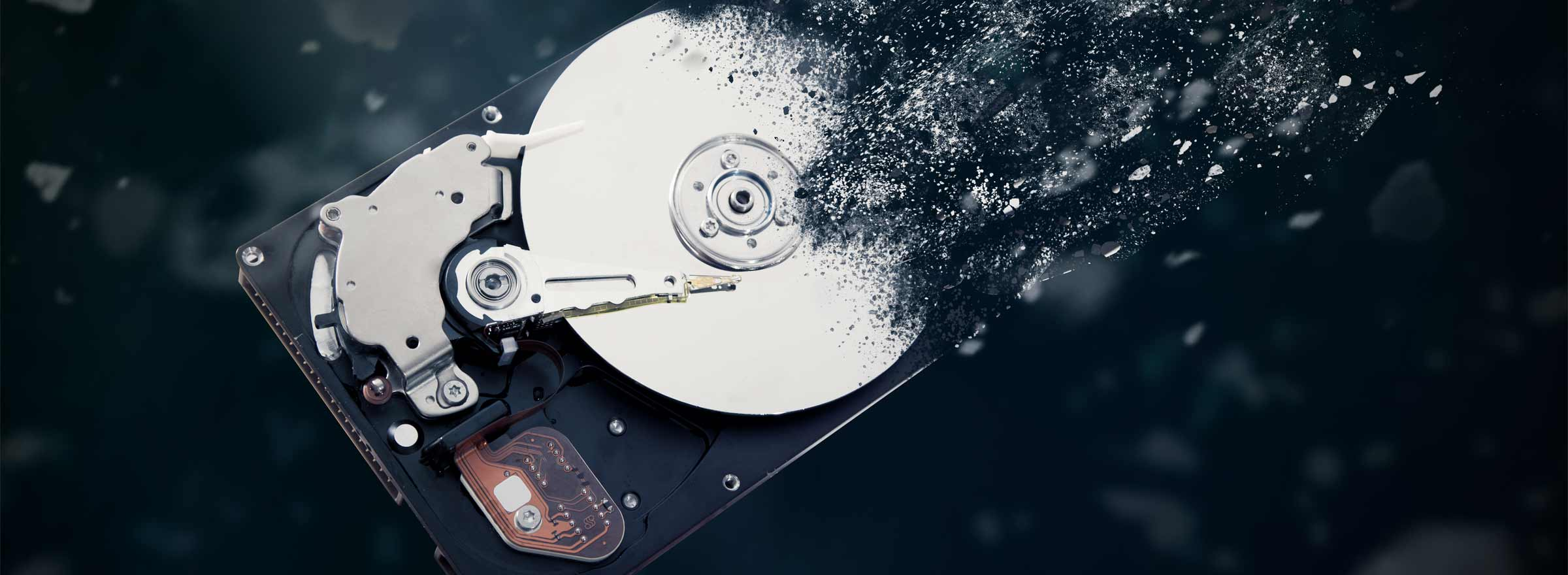 a hard drive appearing to disintegrate