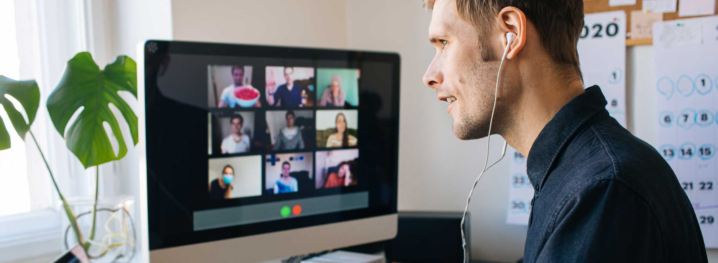 man participating in a video conference