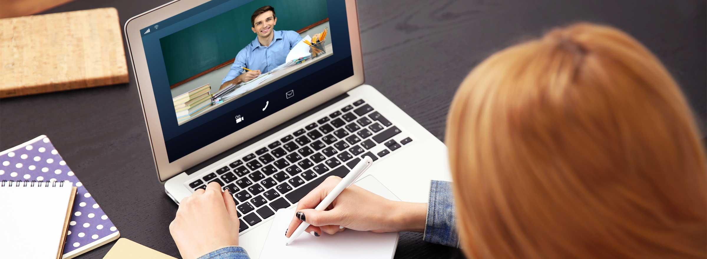 woman in a video conference with a man