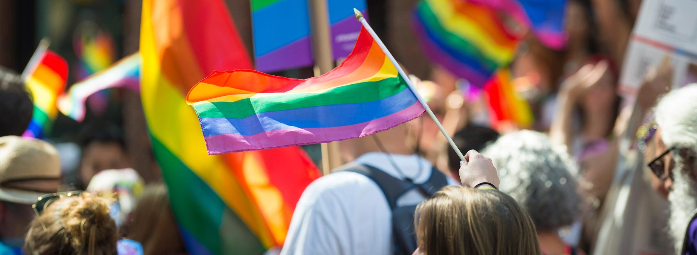 a group of people flying rainbow flags