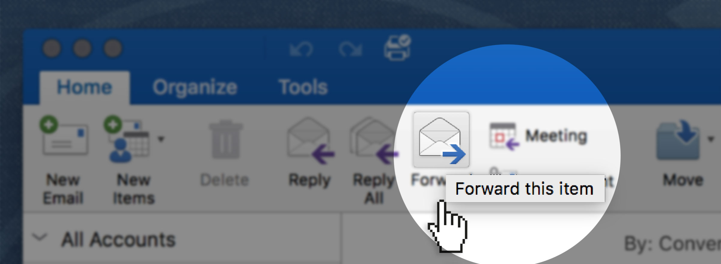 screenshot of a hand about to click on an envelope icon to forward something