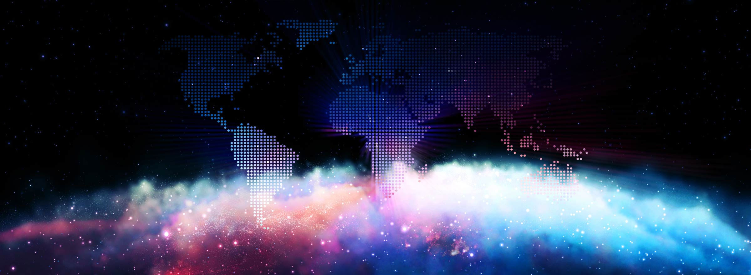 a nebula in front of a digital map of the world