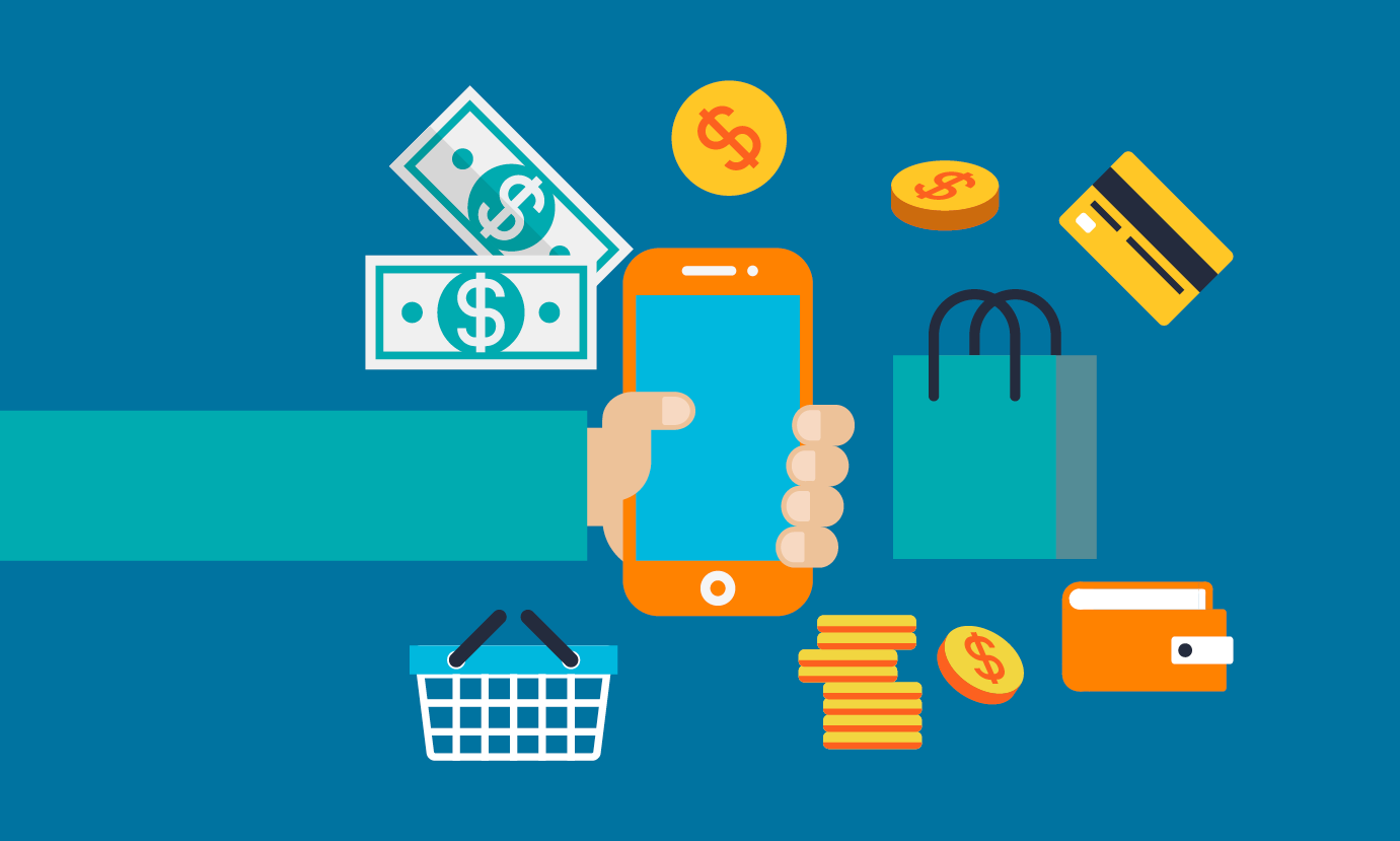 illustration of person holding a cellphone surrounding by coins, dollar bills, a credit card, a shopping bag, and a shopping cart