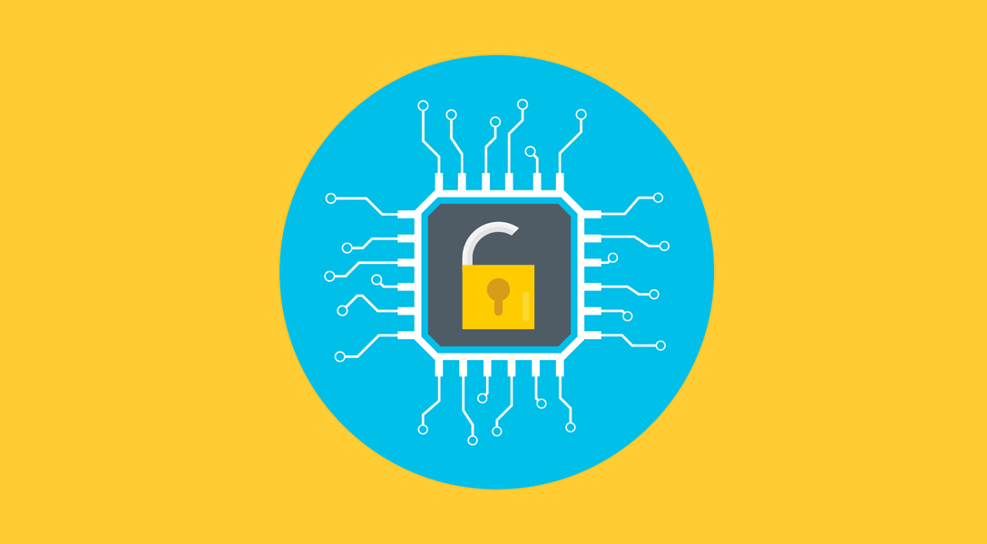 illustration of an unlocked padlocked embedded in a computer chip