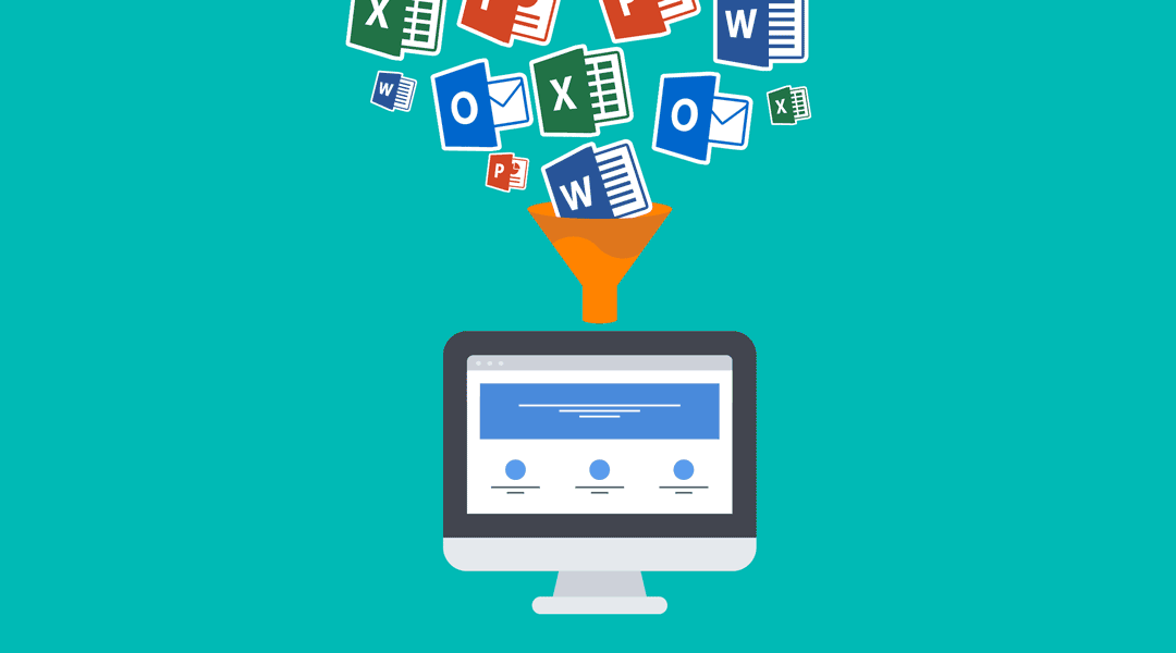 Microsoft software programs including Excel, Word, PowerPoint, and Outlook floating into a funnel that's pouring into a computer monitor