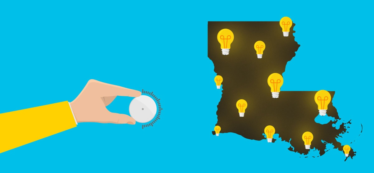 person's hand turning a dial and light bulbs of different intensities across the map of Louisiana